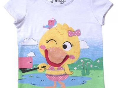 Camiseta feminina com fantoche - Alphabeto - R$ 39,95