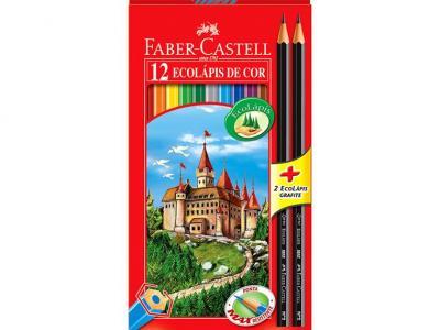 Conjunto 12 lápis de cor + Borracha + 2 lápis grafite eco + apontador Faber Castell - Lojas Americanas - Bangu Shopping