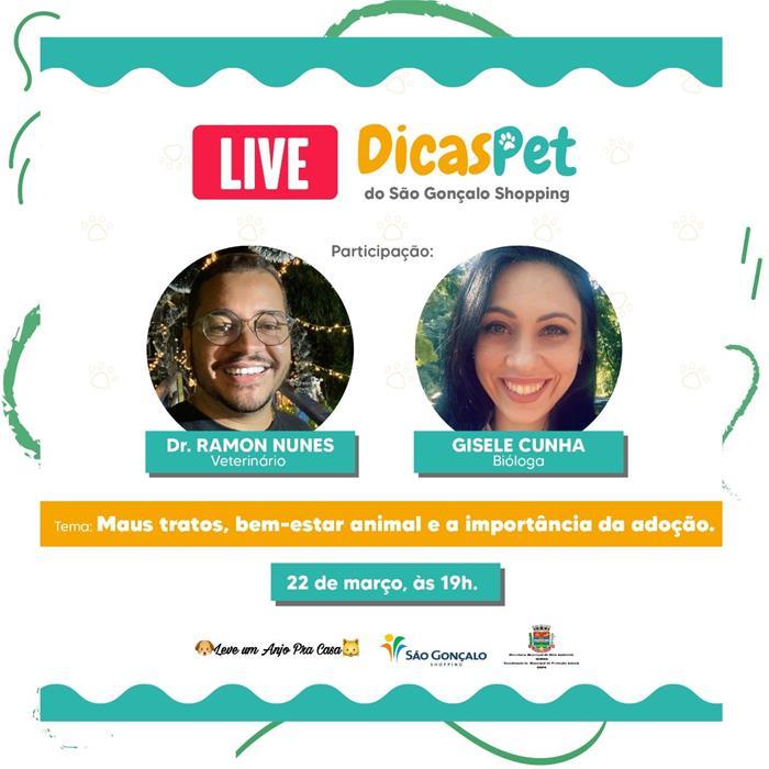 São Gonçalo Shopping promove live sobre cuidados com os pets